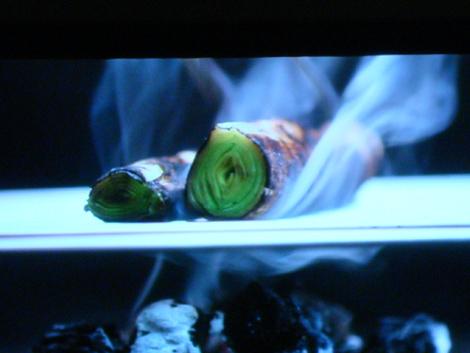 © Cottura dei porri alla brace per la ricetta dei Superspaghettini ai porri di Nico Romito