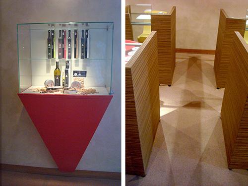 IFSE, la piramide rovesciata della teca e nel gioco d'ombre in Aula degustazioni IFSE, l'Aula degustazione vini | ©foto Sandra Longinotti