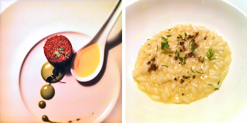 Crudità di cervo (foto sn) e Germinati di muschio, riso e trota fario. chef Alessandro Gilmozzi El Molin | ©foto Sandra Longinotti
