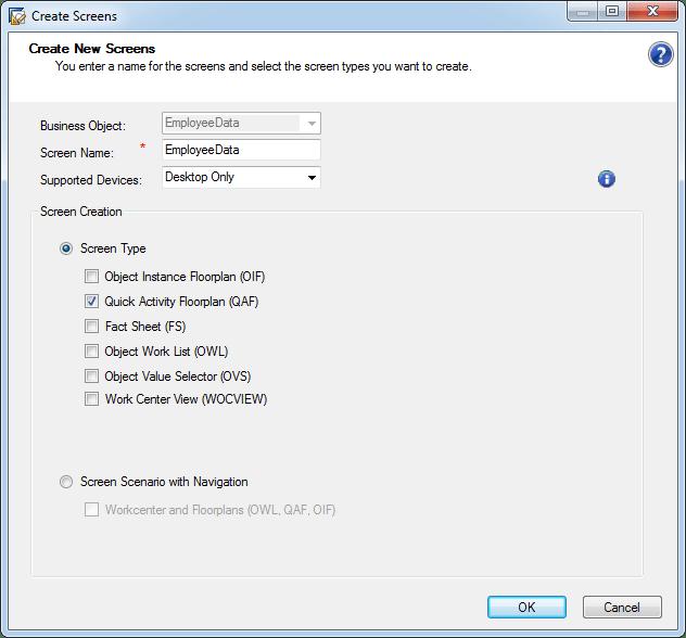 QA Create Screen quick activity floorplan sapby