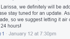Screencap from Japan Crate's FB page, replying to a comment about the strong smell from the wallet. Being 'recently made' sounds iffy already if it was supposed to be an official piece of Hello Kitty / Sanrio merchandise.