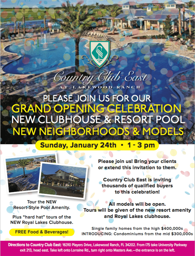 invitation to grand opening of Country Club East
