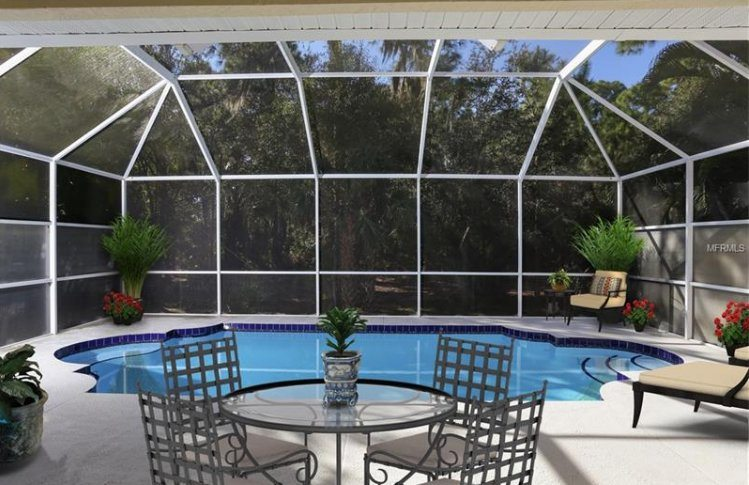 lanai and pool in Sarasota home for sale