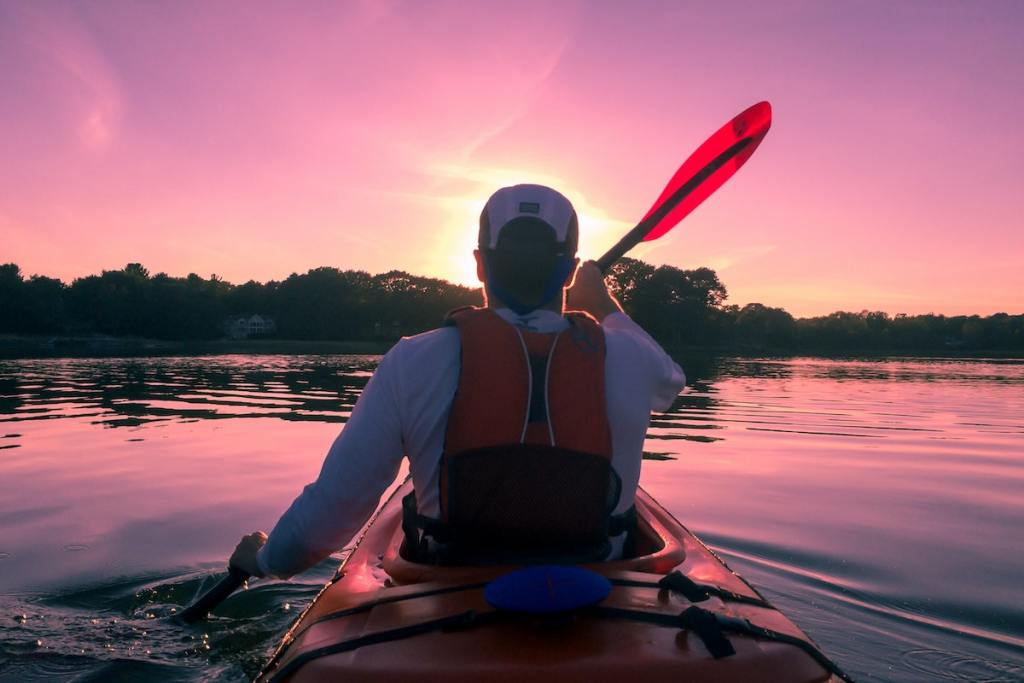 Kayaking into the sunset