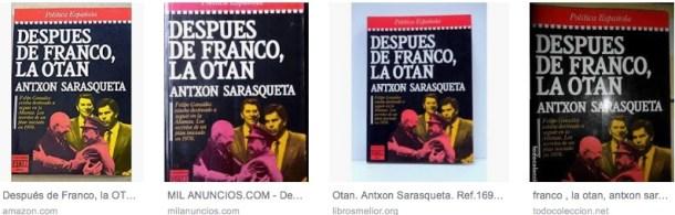 Imágenes de la portada del libro 'Después de Franco, la OTAN' de Antxón Sarasqueta, difundidas por Google