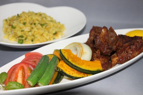 スペアリブと焼き野菜