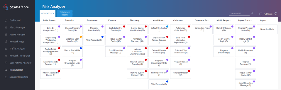 The SCADAfence Platform provides organizations with a MITRE ATT&CK visual map