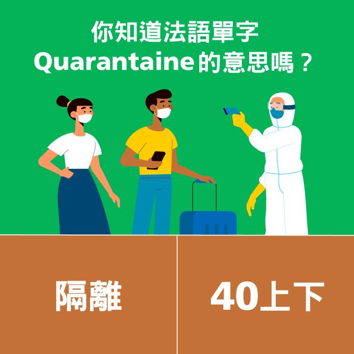 1分鐘學外語 │ 法語 的 Quarantaine 是什麼意思?