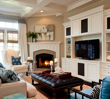 Design dilemma arranging furniture around a corner for Family room furniture layout tv fireplace