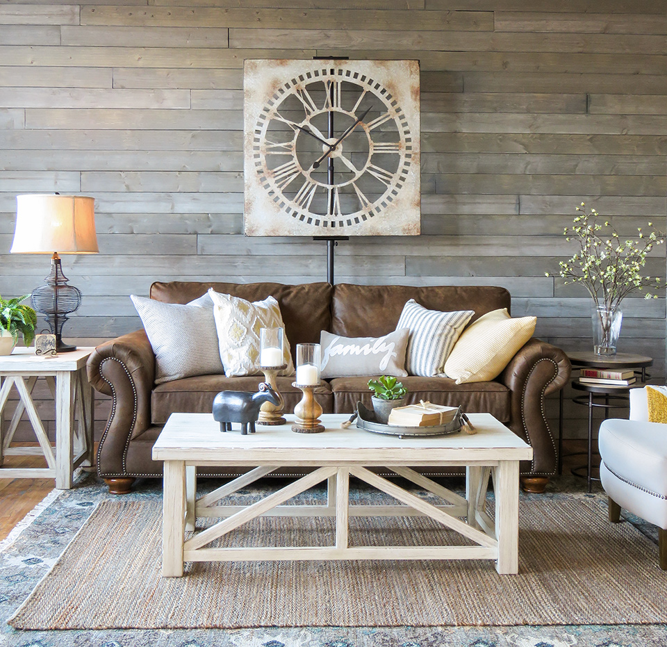 A farmhouse living room that will make you want a brown for Brown furniture living room ideas