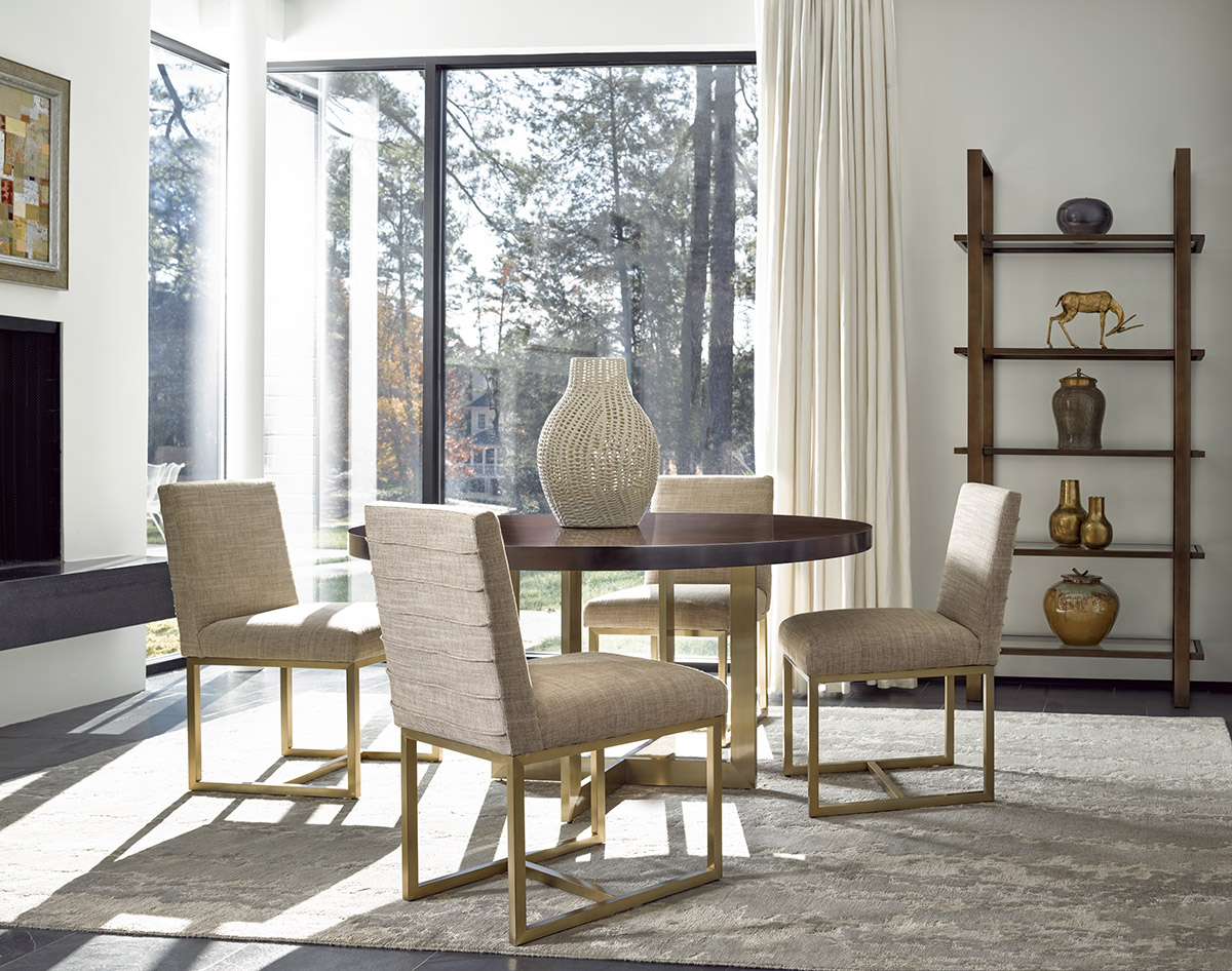 Light neutral modern directions dining room with creative dining room storage and display