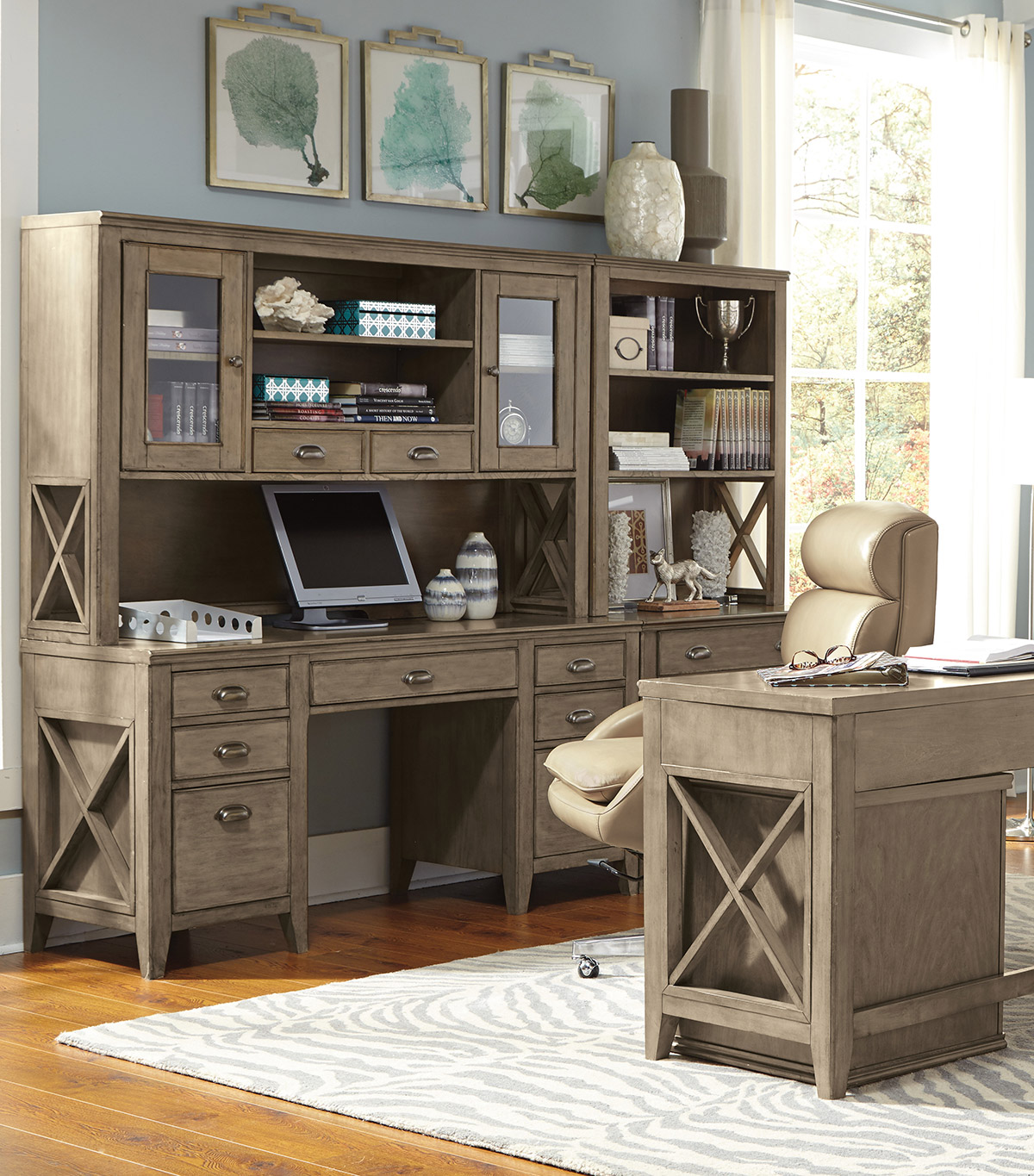 home office desk with storage hutch. Getting organized.