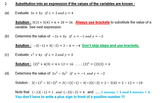 Maths4Teachers - Substitution into an expression