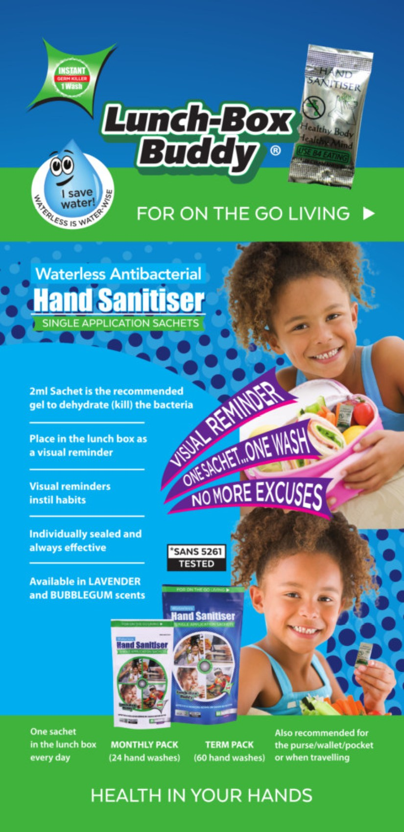 Lunch-Box Buddy Waterless Antibacterial Hand Sanitiser