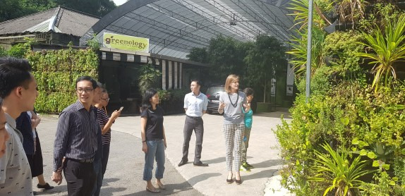 Irina Bytchkova, General Manager of Greenology, sharing on one of Greenology's Vertical herbwall.