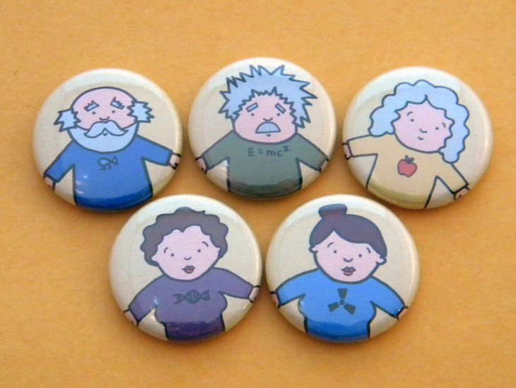Famous scientists magnet set by Kate McCurrach