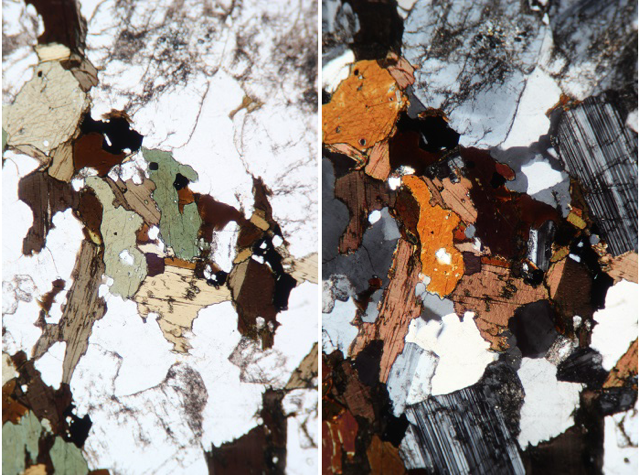 This is a photograph, taken through a microscope, of a slice of rock 0.03 mm thick. The transparent minerals are quartz and plagioclase; the greens and browns are amphibole and biotite. Image 6- (photomicrograph) This photograph was taken with a polarizing filter applied. This helps significantly with mineral identification.