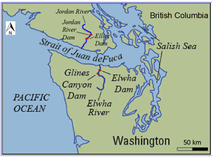 Jordan River and Elwha River Dams - Map1