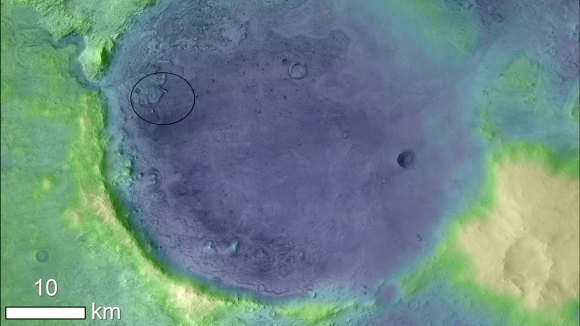 Image showing the Jezero Crater on the surface of Mars.