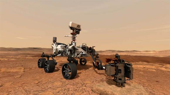 An illustration of NASA's Mars 2020 rover uses its drill to core a rock sample on Mars.