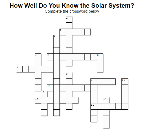 How Well Do You Know the Solar System? (Crossword Puzzle ...