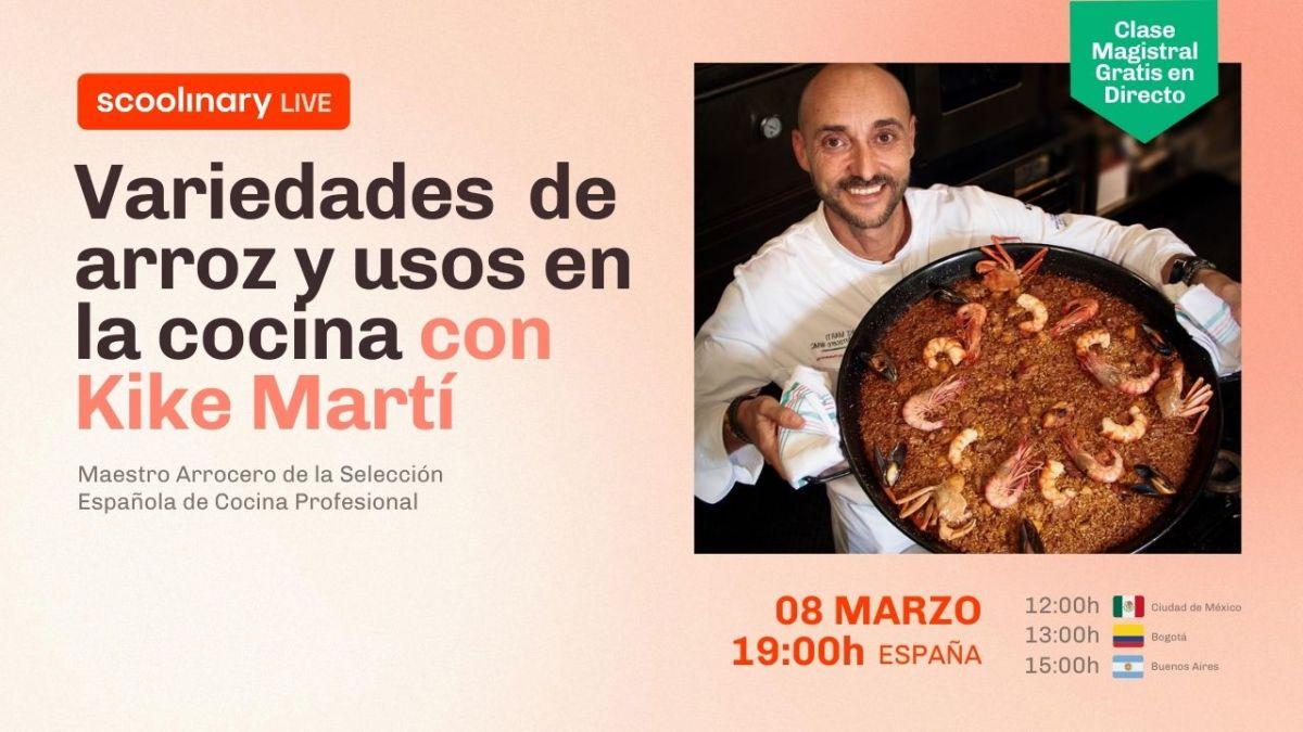 Clase Magistral Gratuita con Kike Martí, sobre las distintas variedades de arroz y sus usos en la cocina