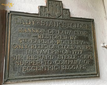 Plaque on the wall of Lady Stair's Close, Lawnmarket, Edinburgh