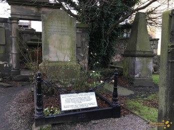 Robert Fergusson's gravestone, with memoral epitaph by Robert Louis Stevenson