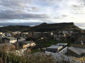 The view from Regent Terrace towards Arthur's Seat (Canongait Kirk in midground)