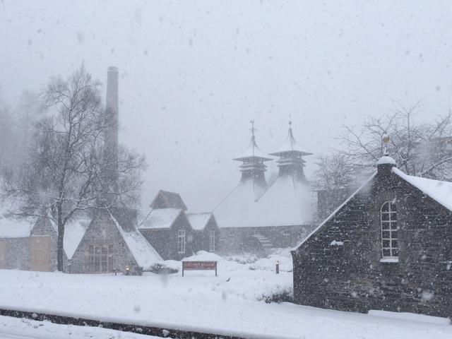 Strathisla distillery in the snow