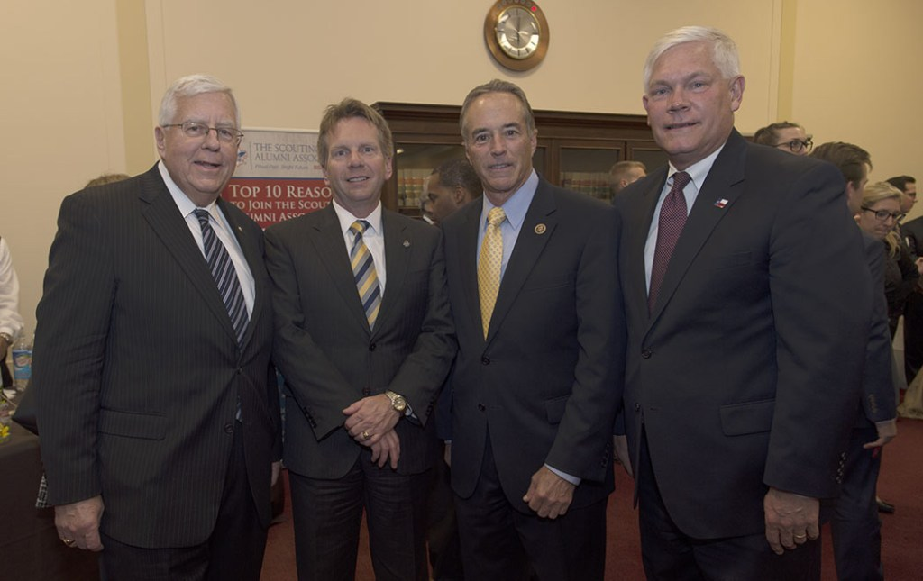 Four Eagle Scouts gathered at the Gathering of Eagles. From left: Sen. Mike Enzi, Chief Scout Executive Mike Surbaugh, Rep. Chris Collins, Rep. Pete Sessions.
