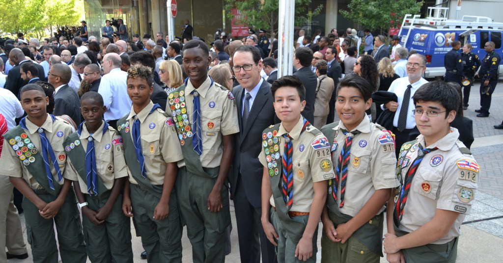 Randall Stephenson and Scouts at memorial service