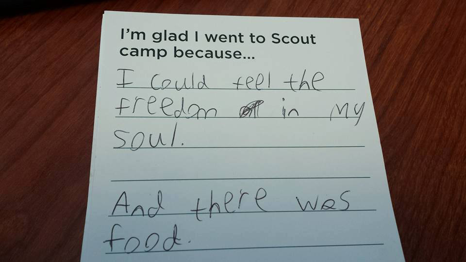 Glad I went to Scout camp because