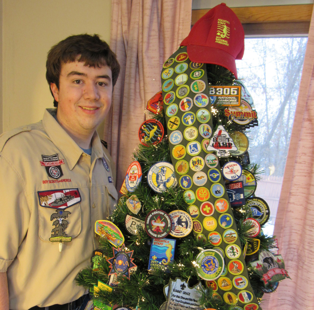 Christmas Tree Patch: Scout Decorates His Christmas Tree With Patches, Merit Badges