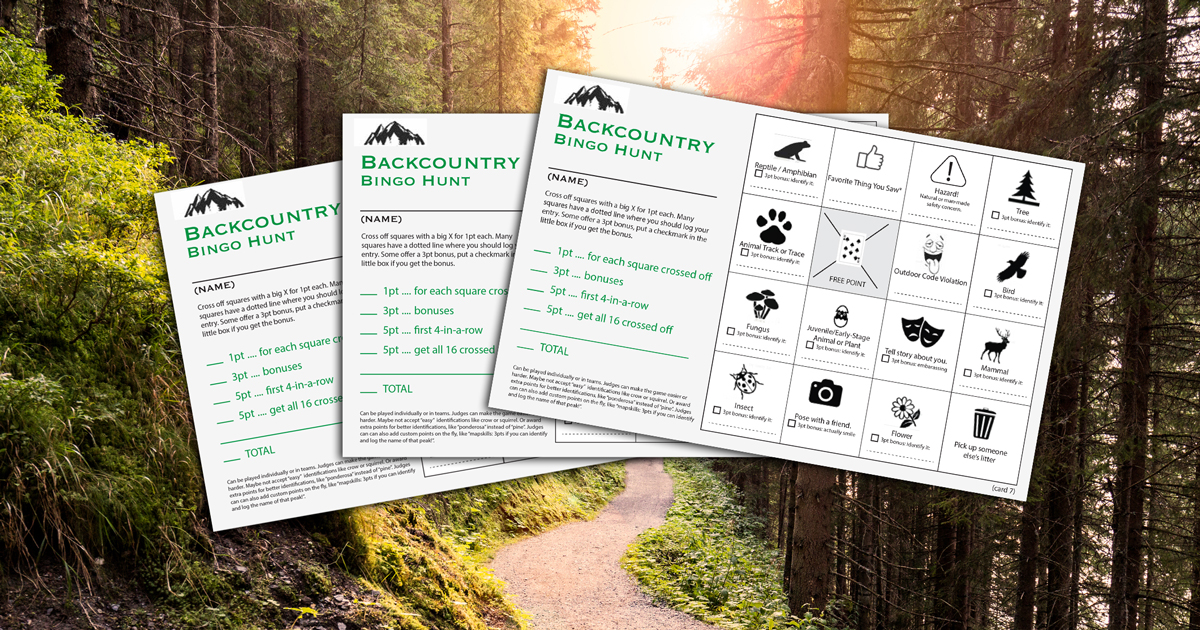 Backcountry Bingo cards encourage Scouts to pay attention to the world around them