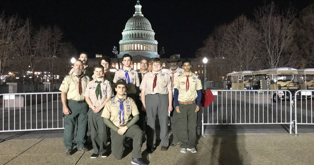 Troop 1717 stands outside the U.S. Capitol early Tuesday morning.