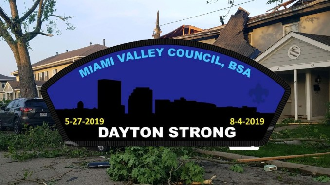 Dayton strong patch with Dayton tornado damage behind