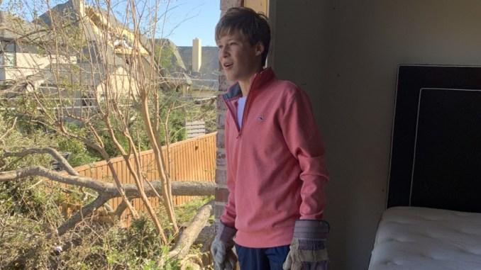 Slaton Strey of Troop 577 lost his home in the tornado.
