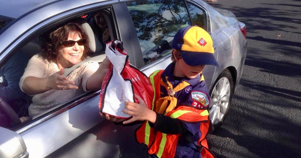 Drive-thru donations: How Scouts made it super convenient for people to donate food