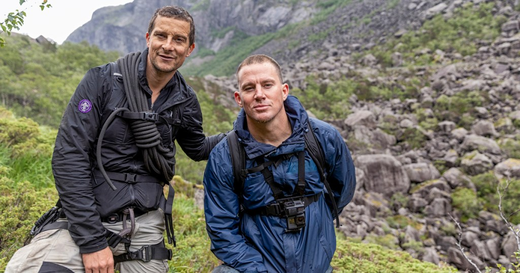 "Bear Grylls and Channing Tatum hiked through Norway for Grylls' National Geographic show, ""Running Wild With Bear Grylls."" (National Geographic/Ben Simms)"