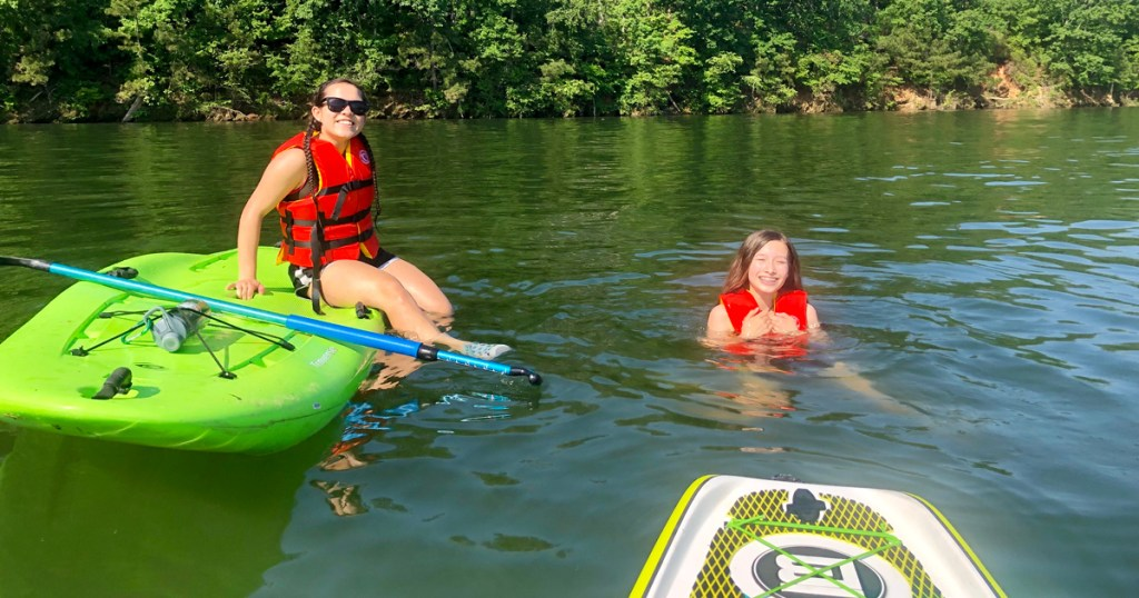 Stand-up paddleboarding.