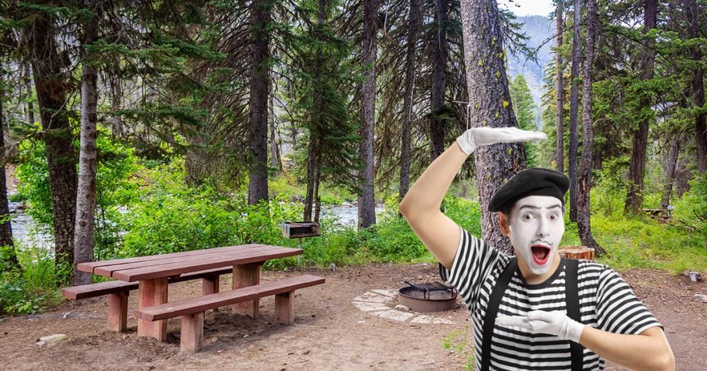 Mime at camp