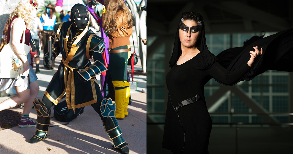 Left: Cosplay of Ronin from Marvel Comics, made and worn by Kagawa. (Photo from CBR.com) Right: Cosplay of Udur from The Wicked + The Divine, made and worn by Kagawa. (Photo by Richard Perry)