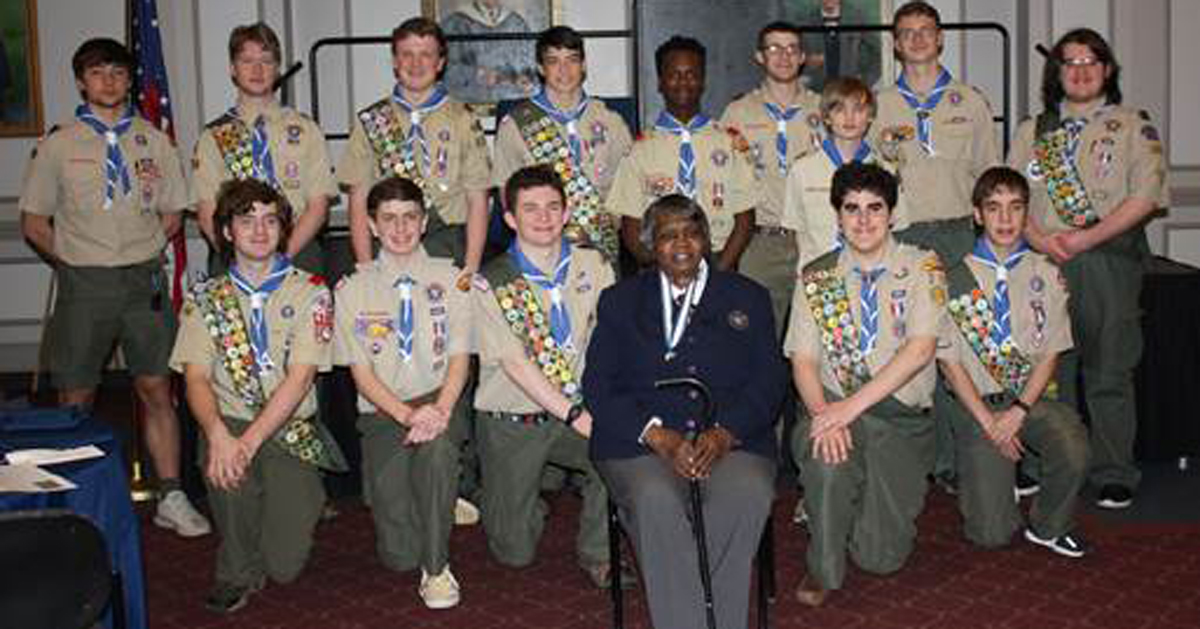The 2018 Class honored Rebecca Marr, pictured with that year's group of new Eagle Scouts.