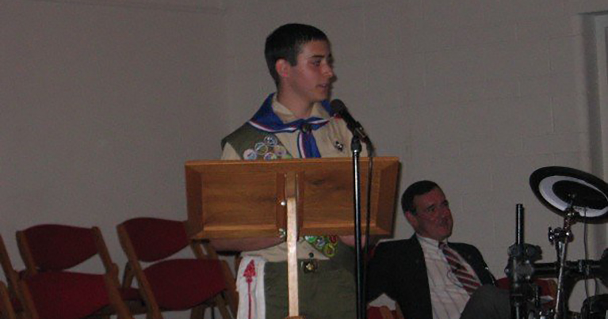 Brian M. Rosenthal speaking at his Eagle Scout court of honor