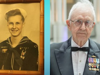Harley Nygren as a Sea Scout in 1941 and at the NOAA Corps' Centennial Celebration in 2017.