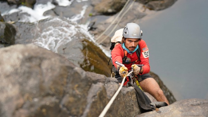 Eagle Scout Corey Mullins ascends Vuwa Falls.