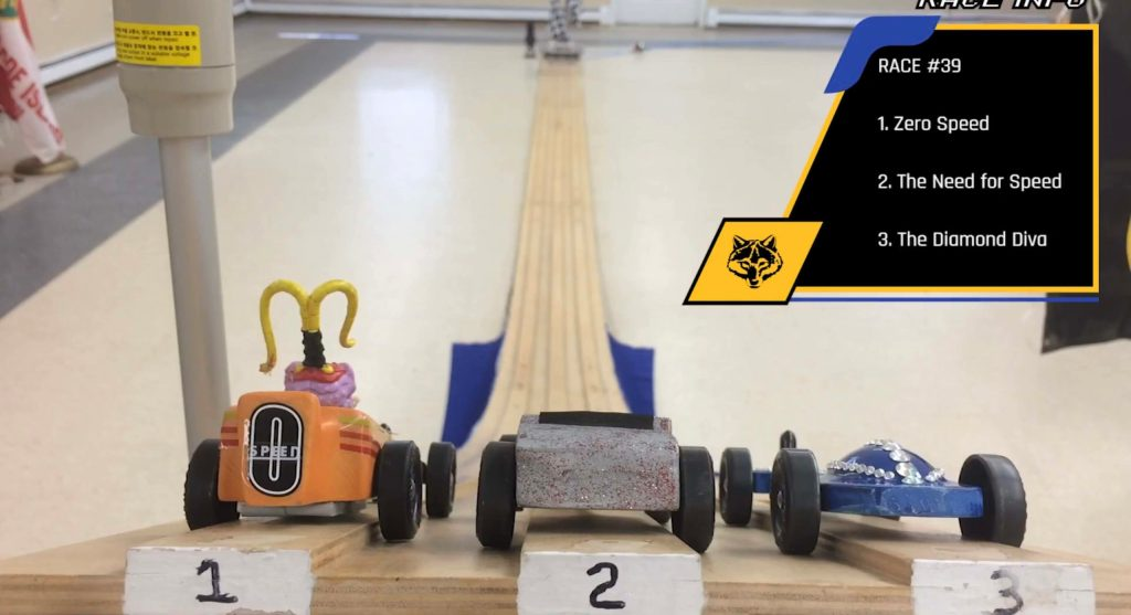 Let's give an Emmy to this pack's broadcast-quality virtual Pinewood Derby race