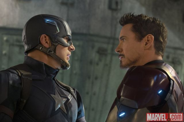 Captain America and Iron Man face off in Captain America: Civil War
