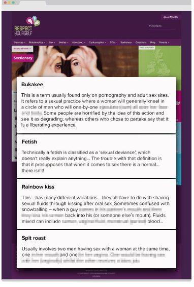 來源:Respect Yourself網頁的性字典(Sextionary),Warwickshire County Council,現已移除,部份字眼被Christian Concern遮蔽